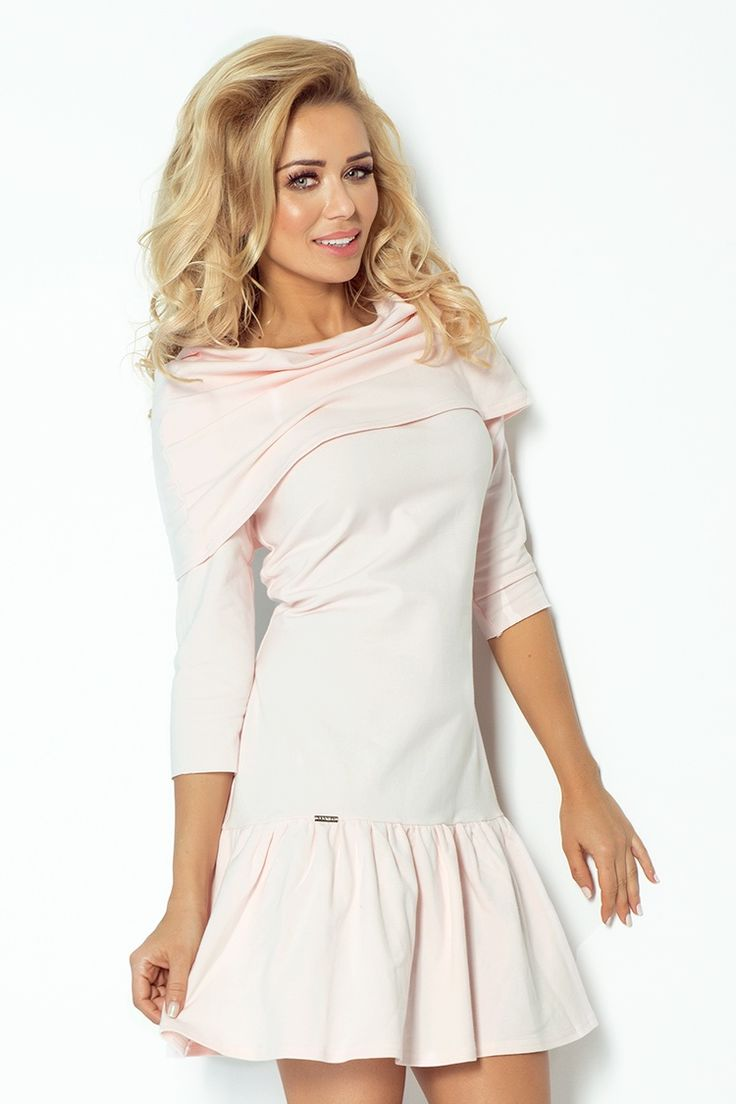 Sukienka z FALBANKĄ I GOLFEM - PASTELOWY RÓŻ  Świetny zakup i tylko za 98,79 zł z Darmową Dostawą.  Serdecznie zapraszam do zakupu :)