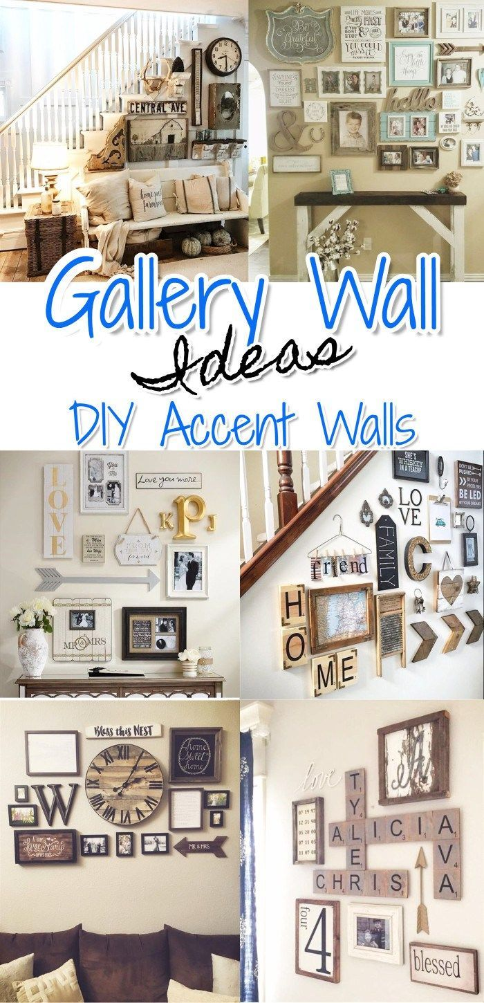 Gallery wall ideas, designs, and DIY layout ideas for any room in your home. Add an eclectic, rustic, organized, or farmhouse rustic style gallery accent wall to your living room, kitchen, dining room, bedroom, nursery, around tv or in your home office. LOTS of great gallery walls to get ideas from and copy the look. Such a beautiful and easy (and cheap) DIY home decor idea.