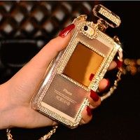 Geek | Luxury Classic Bling Diamond Bow Tie Perfume Bottle Leather Neck Strap Case Cover For iPhone 4 4S iPhone 5 5S iPhone 6 6S Plus