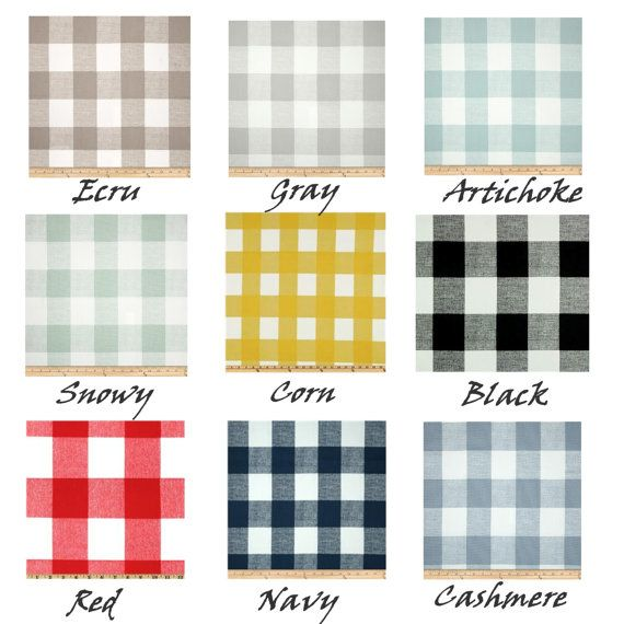 Buffalo Check 9 ColorsEcru CurtainsGrey by Cathyscustompillows