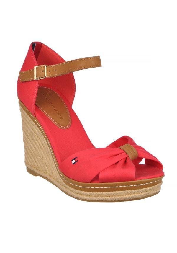 Tommy Hilfiger - Womens Emery Espadrilles Peep Toe Wedged Sandals Red - www.mcelhinneys,com