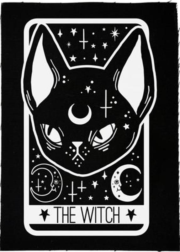 Black cat patch black and white Halloween feline skeleton fabric patch