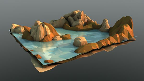The Evening's Dying Light, low polygon scenery by Nathan Pana, via Behance