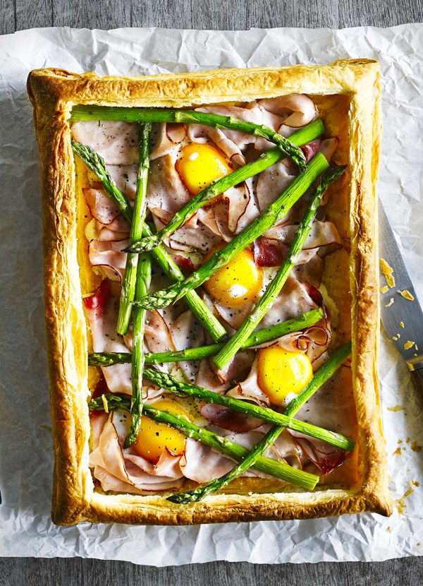 Ham, egg and asparagus tart: This recipe is a great option for a midweek meal for the family, or to make for a picnic in the summer. English asparagus is in season from 24 April until mid-June.