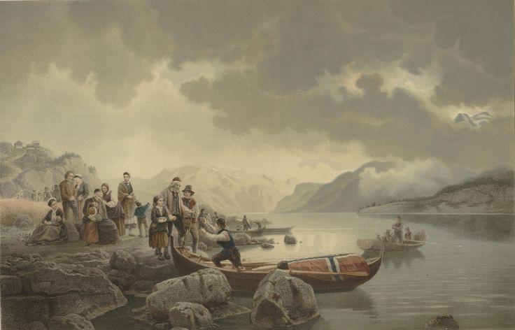 Adolph Tidemann og Hans Gude - Likferd på Sognefjorden. 1853 (cropped). jpg (6431×4127)