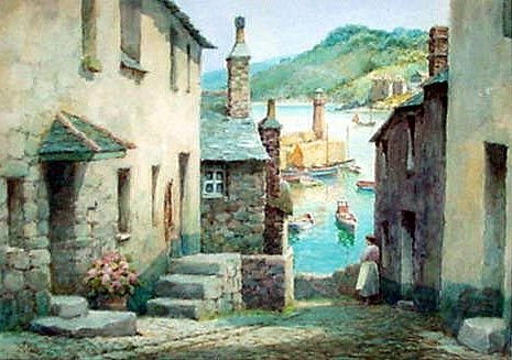 Antique Watercolour Picture of the Bethesda Steps, St. Ives, Cornwall, England ~ Artist: Frederick Parr ~ (1880-1920)
