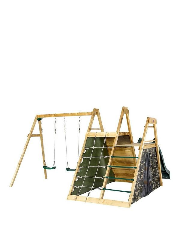 Plum Plum Climbing Pyramid Wooden Climbing Frame Your little soldiers will have hours of outdoor fun and games with this Plum Climbing Pyramid Wooden Climbing Frame. Your children will enjoy hours of outdoor play with the large double play deck with cargo net, ladder, rock wall with coloured hand and foot grips, 8ft wave slide and double swings.The camouflage fabric side panels create a large secret play den area inside the pyramid, great as a rendezvous point on secret missions or as…