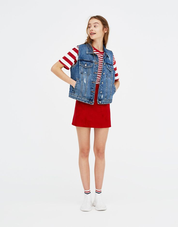Pull&Bear - mulher - vestuário - t-shirts - t-shirt às riscas mistas - vermelho vivo - 05231330-V2018