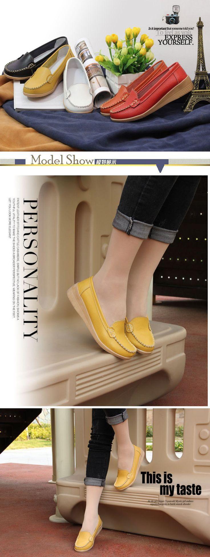 $15.95-AIER Women Slip On Home Leather Flats #omgnb #flatshoe #leather shoe