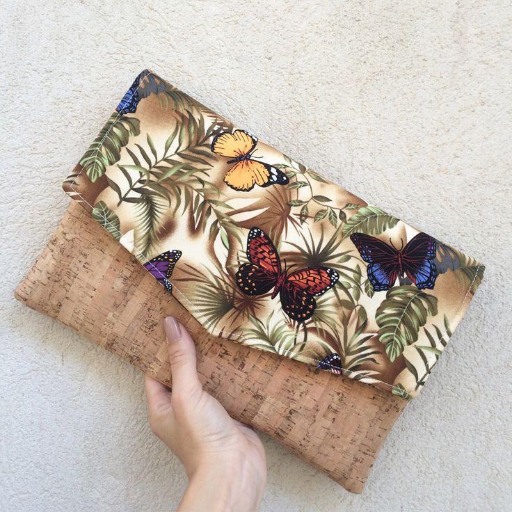 Cork clutch bag envelope clutch letter butterflies cotton handmade bag clutch purse etsy