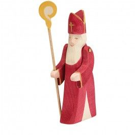 Ostheimer St. Nicholas carries a golden staff and has moveable arms. Made in Germany. From Bella Luna Toys. $37.95