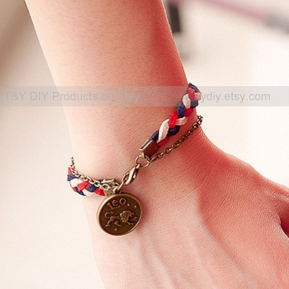 Zodiac Bracelet  Charm Bracelet Braid Bracelet  Brass by TYdiy, $4.99