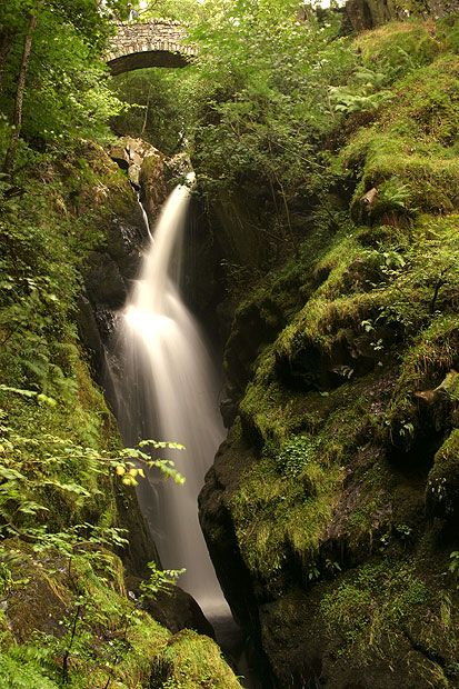 Aira Force falls, Cumbria      Mentioned in three of Wordsworth's poems, Aira Force lies one kilometre from     pretty Ullswater in the heart of the Lake District. A small bridge spans the     falls, allowing visitors a clear view to the bottom.