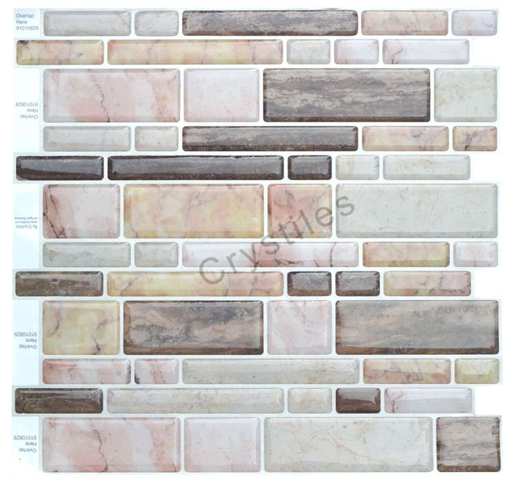 """Amazon.com: Crystiles® Peel and Stick Self-Adhesive Vinyl Wall Tiles, Multi-Color Marble Style, Item# 91010829, 10"""" X 10"""", Set of 6: Home & Kitchen"""