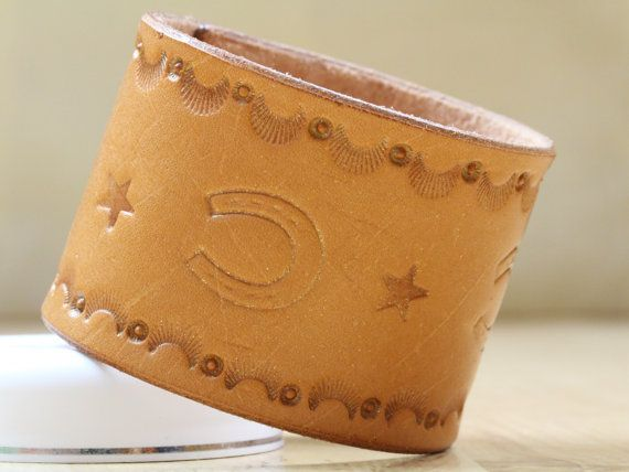 Horseshoe Wristband  Tooled Leather Cuff by TinasLeatherCrafts. Repin To Remember.