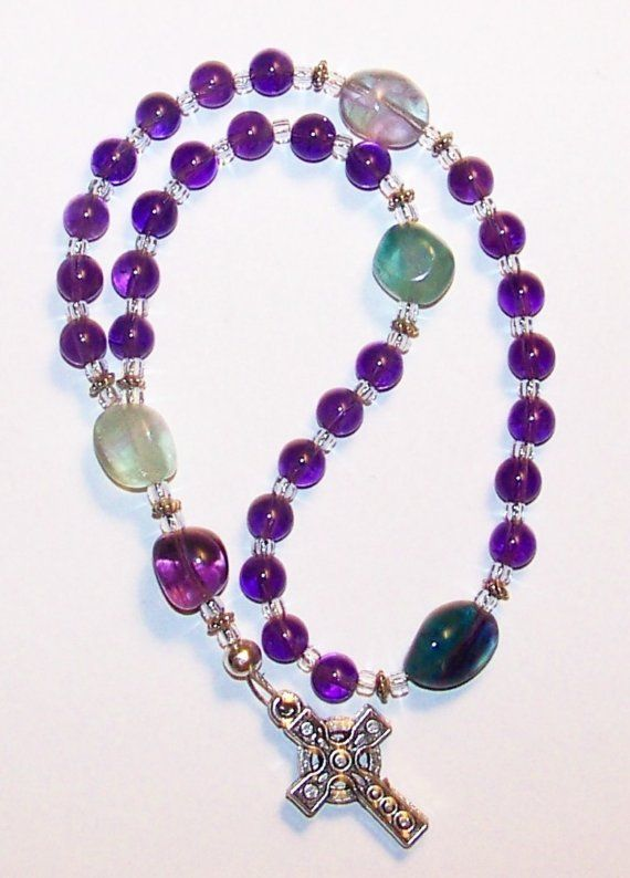 Amethyst and Rainbow Flourite Anglican Prayer Beads