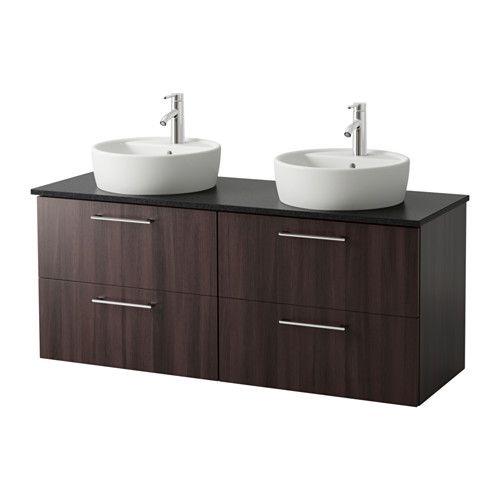 trnviken meuble lavabo ikea avec lavabo poser brun noir