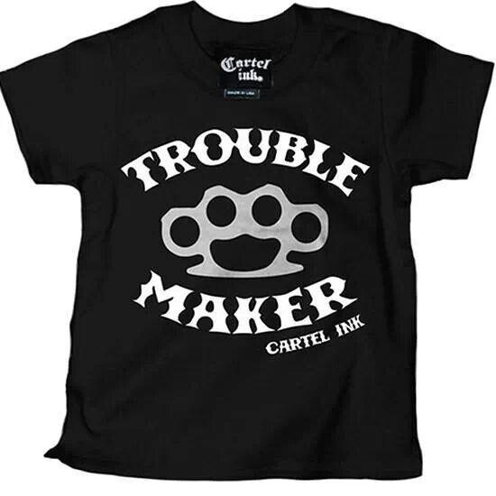 Black t shirt, trouble maker t