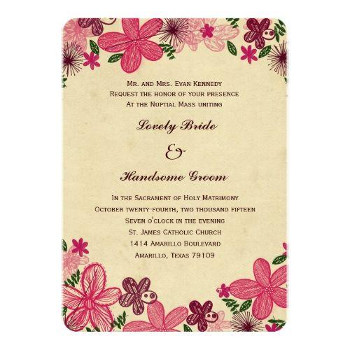 177 best catholic wedding invitations images on pinterest catholic catholic wedding invitation retro pink flowers catholic wedding invitation stopboris Gallery