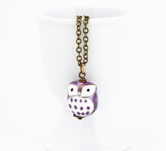 Free Shipping - SALE, Gift for Owl Lover, Purple and White Owl Necklace - Little Owl Charm Necklace