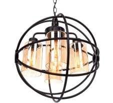 Industrialna LAMPA wisząca LDP 11509 - 4 ( BK ) Lumina Deco metalowa OPRAWA zwis loft kula ball drut czarna