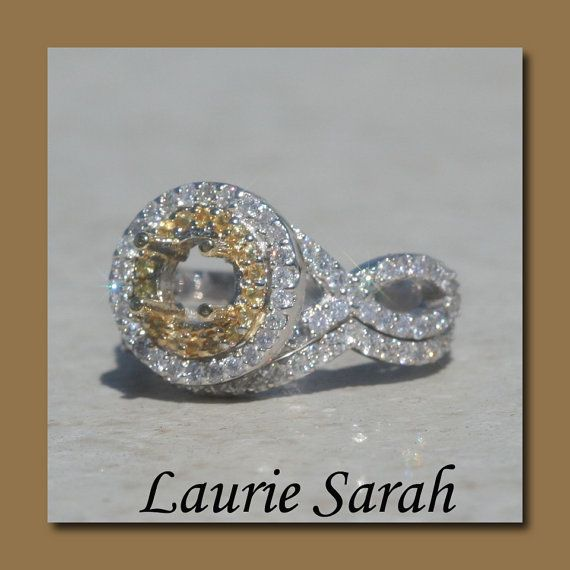 Double Halo Wedding Set Semi Mount with by LaurieSarahDesigns, $3134.10