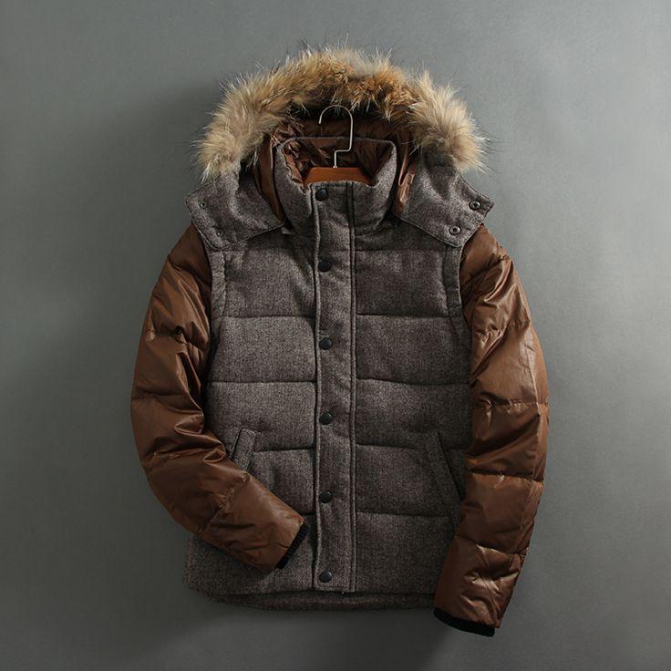 51SHOP чужой мужской мужской случайный сшивание съемный колпачок вниз куртка съемный рукав куртка 157186-Taobao