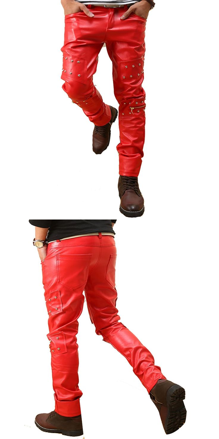 Mens Punk Rock Red Studded Faux Leather Motorcycle pants Hip Hop Night Club Harem Sweatpants 110102