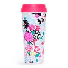 floral florabunda plastic insulated travel mug with hot pink lid