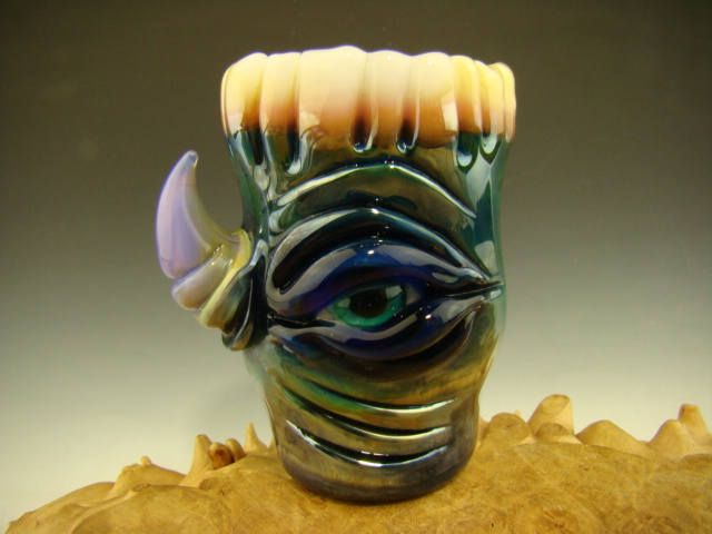 Hand blown Horny Shot Glass Contemporary Flameworked Art Freaky eye, horn and teeth (ready to ship) by VortexGlassWorks on Etsy