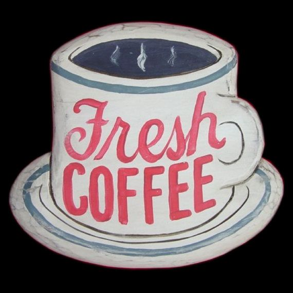 """Fresh Coffee"" Wooden Sign, Handcrafted by Morning Star Design ©."
