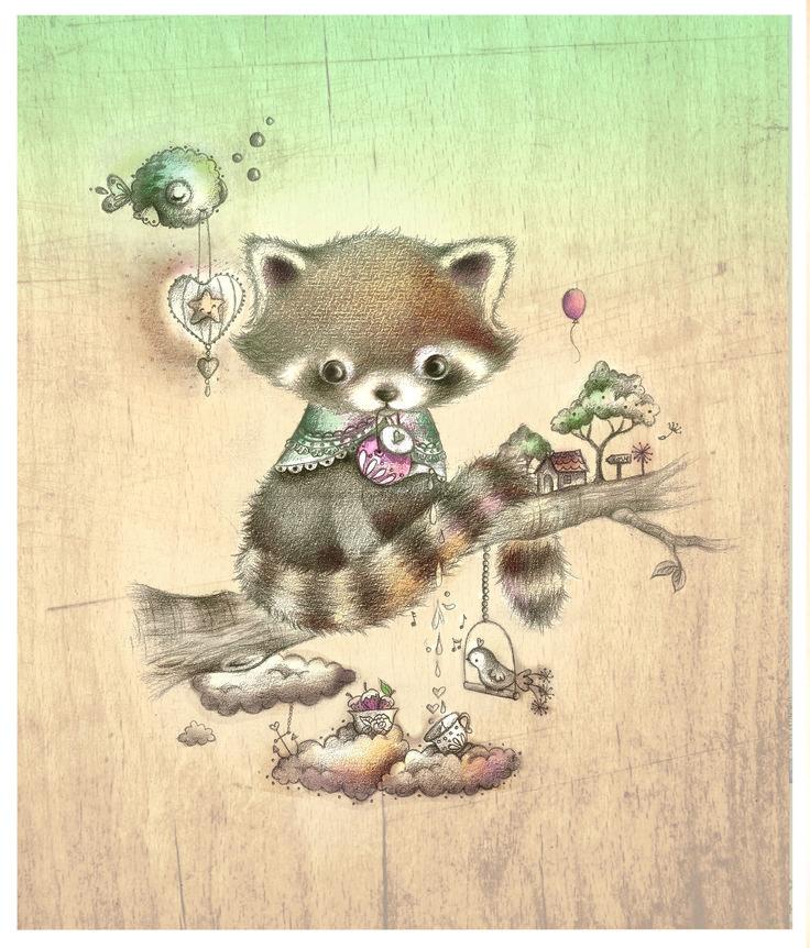 alice wong-red panda illustration