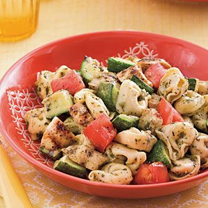 Grilled Chicken-and-Veggie Tortellini ~ This recipe packs in flavorful summer veggies with cheesy tortellini and char-flavored chicken, all coated in your favorite pesto. You're only six ingredients away from a dinner everyone in your family is sure to request again.