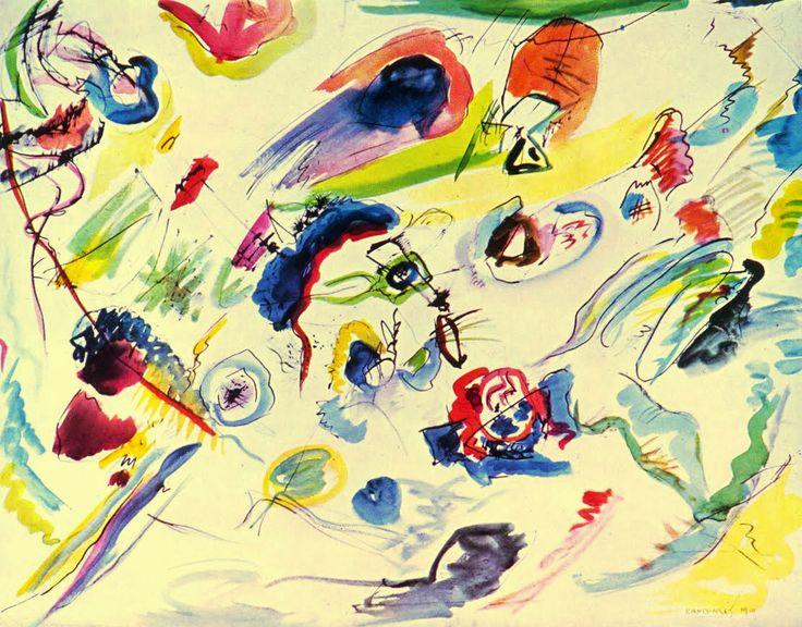 "VASSILY KANDINSKI.  La Abstracción se desarrolló a partir de esta acuarela, titulada precisamente ""Primera acuarela abstracta"". 1910."