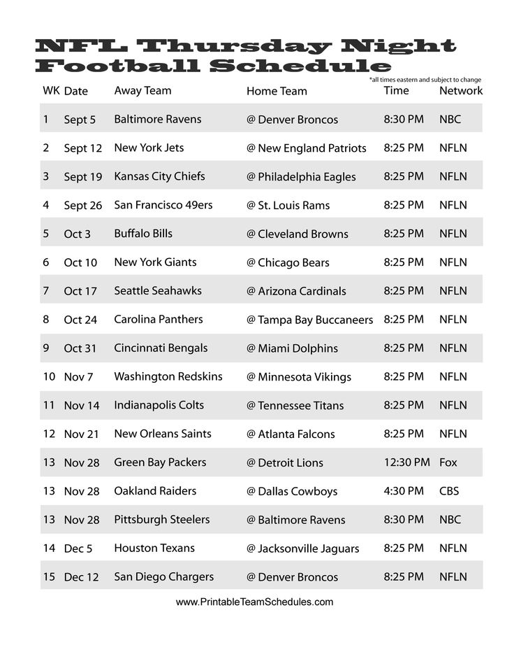 NFL 2013 Thursday Night Football Schedule