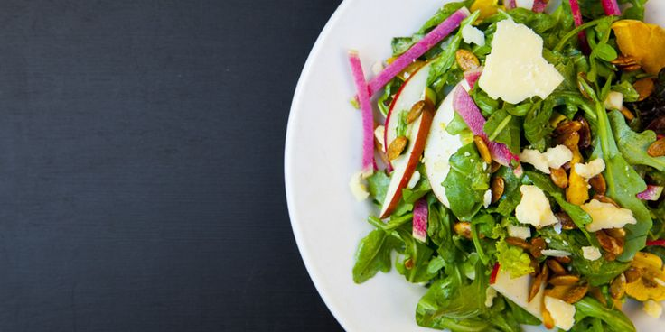 Green Salad with VT Cheddar and Watermelon Radish and Spiced Pepitas Lunch Menu - The Farmhouse Tap & Grill #vermont #vermontcatering #burlingtonvt #salad #Vermontwedding