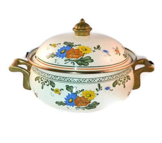 Beautiful Vintage Enamelware Casserole Dish Flower by FarahsAttic, $20.00