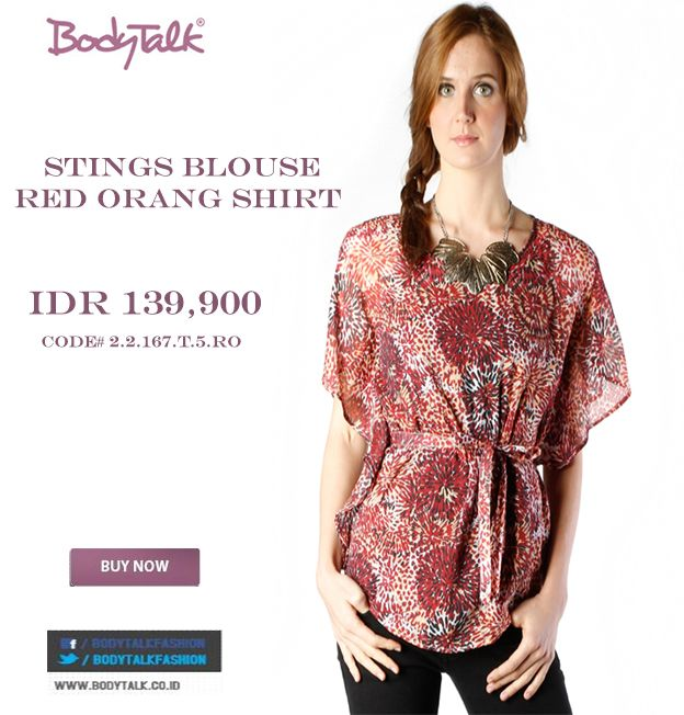 And this STINGS BLOUSE RED ORANG SHIRT is on sale Ladies  IDR 139,900  >> http://ow.ly/vN9DV