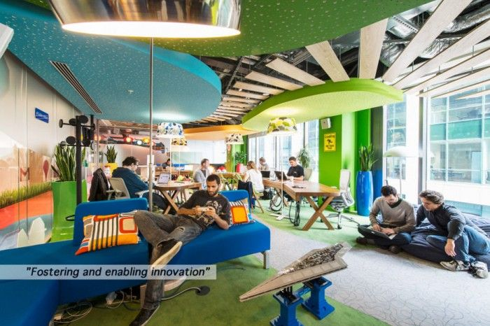 Perfect Natural Themed Interior Design for Google Office with Green Accents of Ceiling and Wall to Combine with Blue Furniture Set