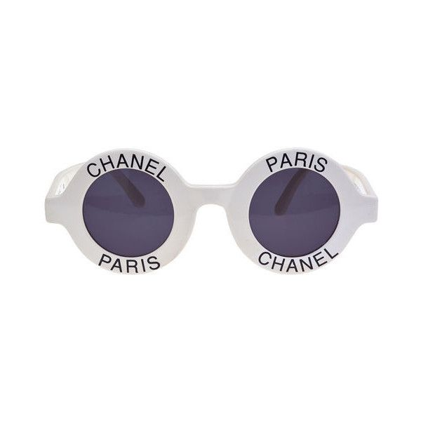 """Chanel - CHANEL """"CHANEL PARIS"""" LOGO FRAME WHITE SUNGLASSES ❤ liked on Polyvore"""