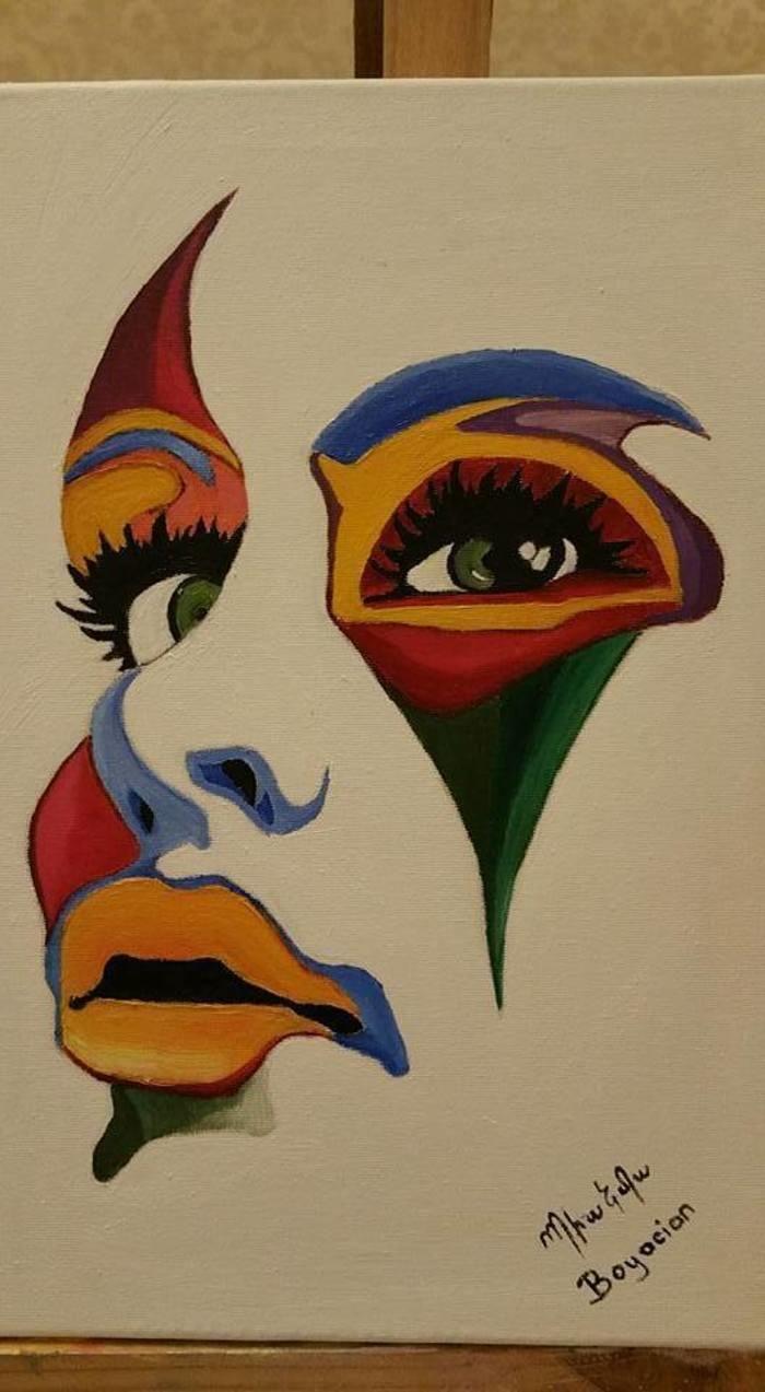 Large colorful face oil painting on canvas bianka boyaci bluethumb art
