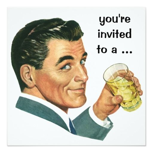 Vintage Adult Male Birthday Party Cocktails Cheers Personalized Invitations