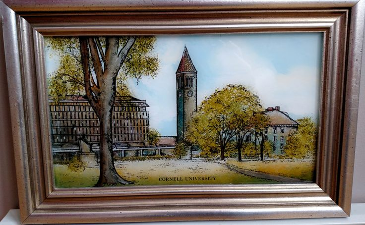 Cornell University Eglomise Designs Reverse Painted Glass Framed Picture Ithaca by awesome80s on Etsy
