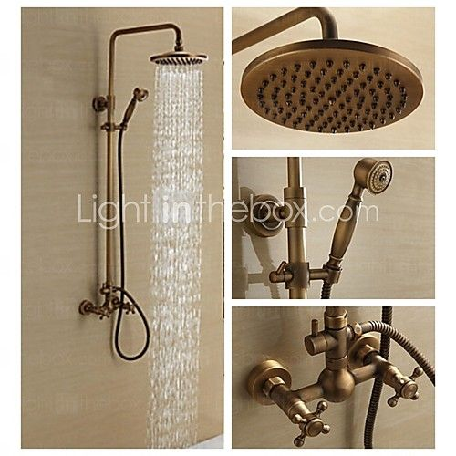Antique Brass Wall Mounted Two Handle Rain Shower Faucet Set with 8 Inch Shower Head and Hand Shower - GBP £163.16