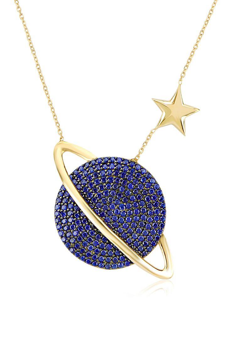 Gold Vermeil Blue CZ Planet & Star Pendant Necklace