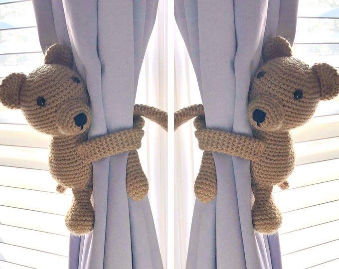 Animal Curtain Tie Backs Monkey Tie Back Nursery Curtain Etsy In