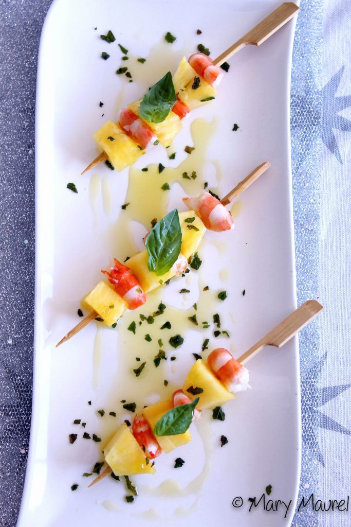 Brochettes crevettes et ananas - Gourmand Croquant By Mary & Co