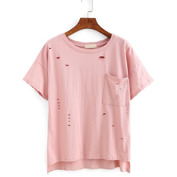 Ripped High-Low Pocket T-shirt ($6.99) ❤ liked on Polyvore featuring tops, t-shirts, shirts, pink, pocket tees, pink top, short sleeve pocket tee, distressed t shirt and pink t shirt