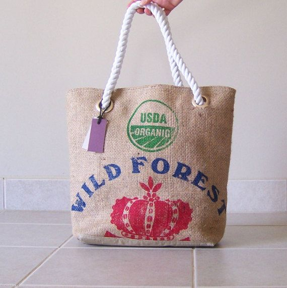 Wild Forest rope handle burlap tote  canvas bag  by LinaandVi