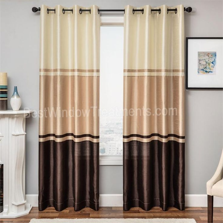granada grommet color block curtains champagne taupe and chocolate color window treatments